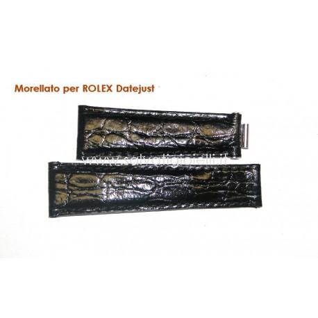 MORELLATO for ROLEX Datejust Black leather strap 20mm crocodile pattern