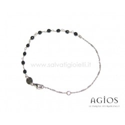 AGIOS Rosary bracelet in Silver 925% and natural stones (black)