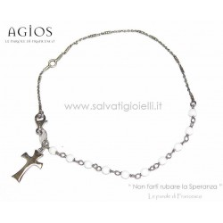 AGIOS Rosary bracelet in Silver 925% and natural stones (white) with tau pendant