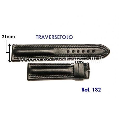 EBERHARD black leather strap x TRAVERSETOLO 21mm ref. 182 x ref: 20019 - 20020 - 21016 - 21019 - 21020 - 21216