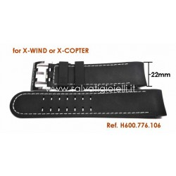 HAMILTON black rubber strap X-WIND H600.776.106 ref. H600776106 for H766160 H766560 H767160 H776260 H776160 H776560