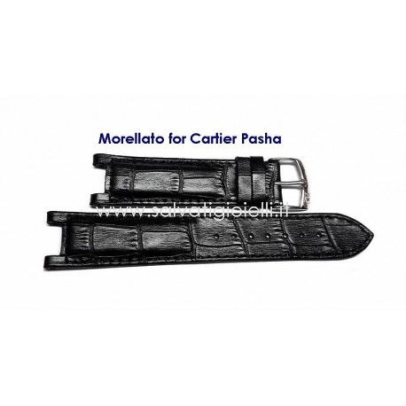 MORELLATO for CARTIER Pasha Black leather strap 20mm alligator similar with pin buckle