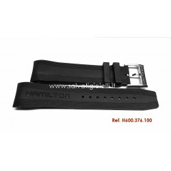 HAMILTON JAZZMASTER Seaview Black rubber strap 22mm H600.376.100 H600376100 for H37616331 H376160