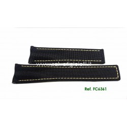 TAG HEUER black textile fabric strap yellow sewing AQUARACER 21,50 mm ref. FC6361 for ref. CAY211A