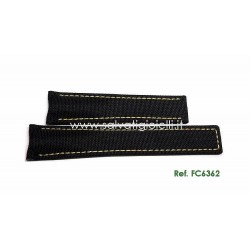 TAG HEUER black textile fabric strap yellow sewing AQUARACER 20,50 mm ref. FC6362 for ref. WAY211A