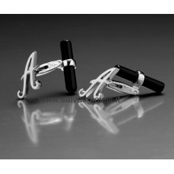 Obsigno cufflinks initial silver 925 & onyx  - letter A