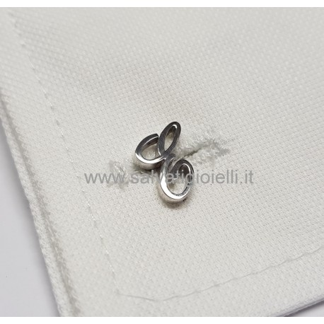 Obsigno cufflinks initial silver 925 & onyx  - letter D