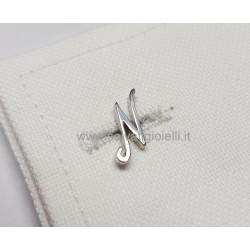 Obsigno cufflinks initial silver 925 & onyx  - letter N