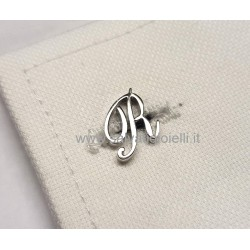 Obsigno cufflinks initial silver 925 & onyx  - letter R