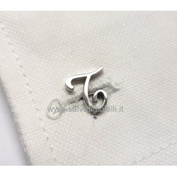 Obsigno cufflinks initial silver 925 & onyx  - letter T