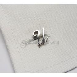 Obsigno cufflinks initial silver 925 & onyx  - letter U