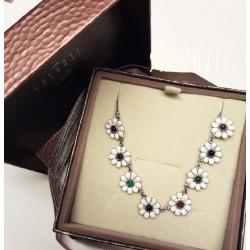 collier necklace daisies silver enamel HANDMADE *DG302