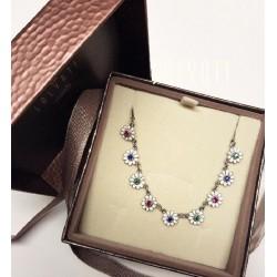 collier necklace daisies silver enamel HANDMADE *DG301