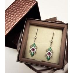 earrings daisies silver silver enamel HAND MADE earring * DO406 handmade