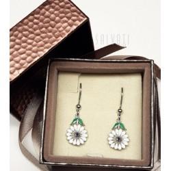 earrings daisies silver silver enamel HAND MADE earring * DO407 handmade