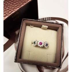 Ring daisies silver silver enamel HAND MADE ring * DA103 handmade