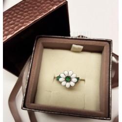 Ring daisies silver silver enamel HAND MADE ring * DA102 handmade