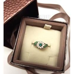 Ring daisies silver silver enamel HAND MADE ring * DA101 handmade