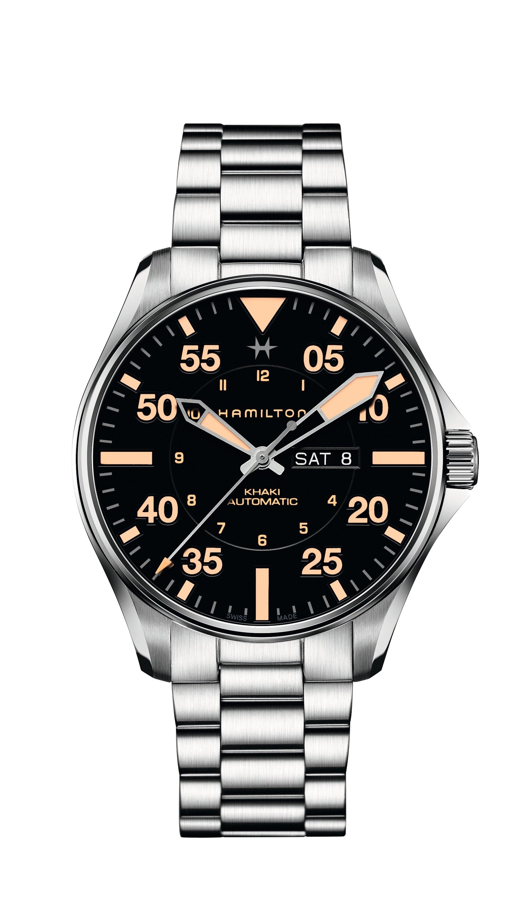 Hamilton Watch Ref H64725131 Khaki Aviation Pilot Day Date Auto