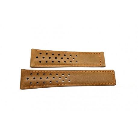 TAG HEUER brown perforated calf strap 21mm CARRERA CALIBRE 16 ref. FC6455 x CBM2112 / CBM2110