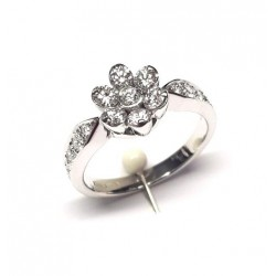 Flower Ring Diamonds ct. 0,91 & White Gold 18kt ref. AN405B