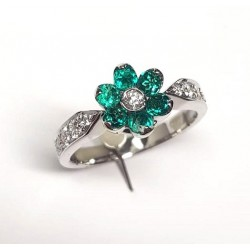 Flower Ring Emeralds & Diamonds ct. 0,33 & White Gold 18kt ref. AN405S